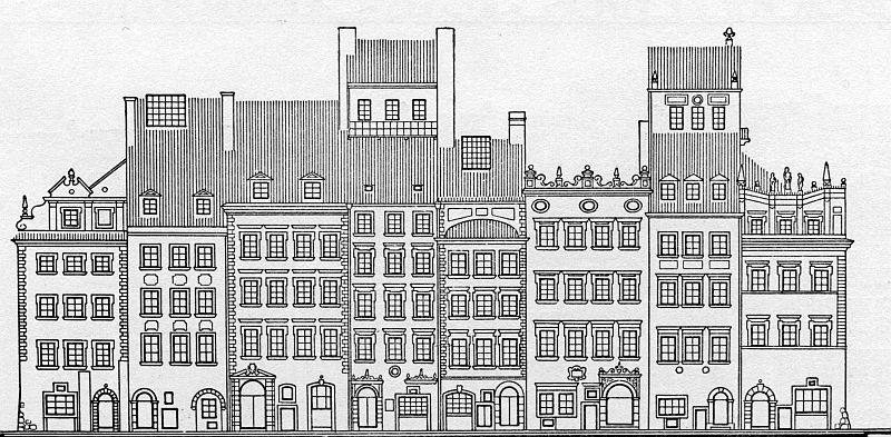 > Façade des maisons de la place du marché (Rynek) de Varsovie.